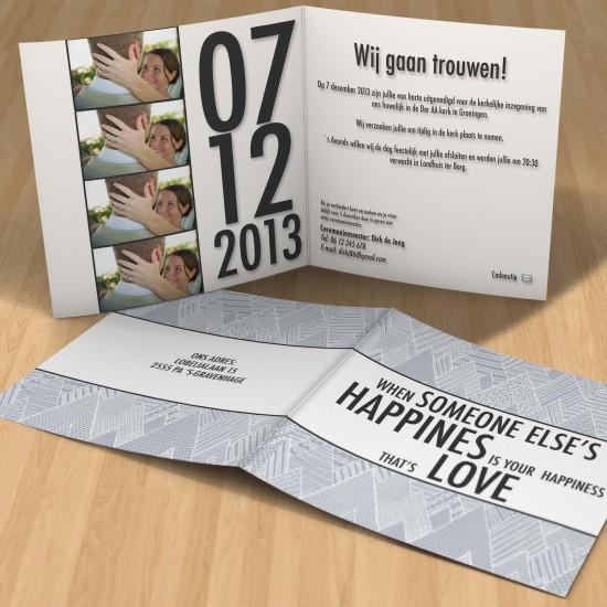 Hippe trouwkaart